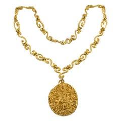 Edouard Rambaud Paris Extra Long Gilt Metal Necklace