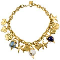 Edouard Rambaud Paris Signed Choker Necklace Ceramic Beads Nautical Charms