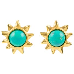 Edouard Rambaud Paris Signed Clip On Earrings Gilt Metal Sun Turquoise Cabochon