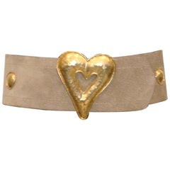 Edouard Rambaud Pour Portanera Paris Beige Suède Belt W/ Gold Metal Heart