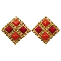 Edouard Rambaud Red Orange Clip Earrings