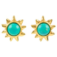 Edouard Rambaud Turquoise Sun Clip Earrings