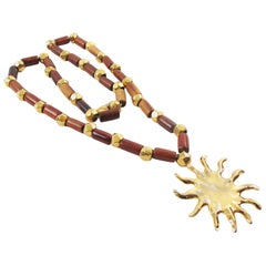 Edouard Rambaud Wood Sun Pendant Necklace