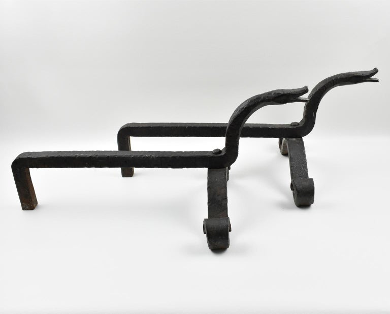Edouard Schenck Style Snake Head Wrought Iron Andirons For Sale 3