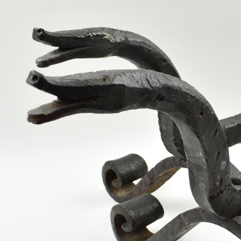 Edouard Schenck Style Snake Head Wrought Iron Andirons For Sale 5