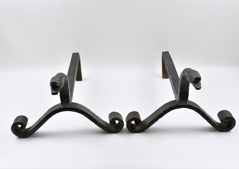 Arts and Crafts Edouard Schenck Style Snake Head Wrought Iron Andirons For Sale