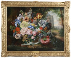 A Still Life of an Abundance of Flowers in a Basket in the Grounds of a Chateau