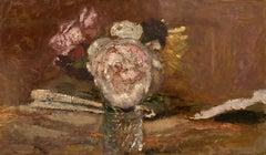 Roses dans un vase de verre, Oil on Carboard, 1910's, Modern Art, Still Life