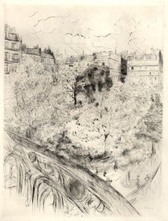 Paris Le Square Vintimille - Original Etching by E. Vuillard - 1937