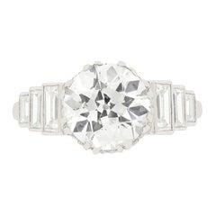 EDR Certified 3.17 Carat Art Deco Diamond Engagement Ring with Set Shoulders