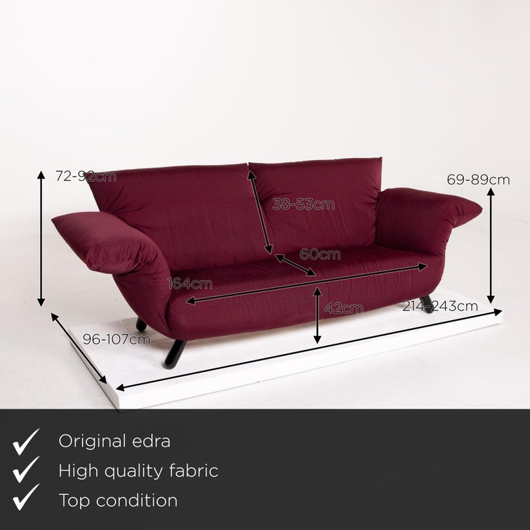 We present to you an Edra Bilbo fabric sofa purple two-seat function Gianfranco Gualtierotti couch.    Product measurements in centimeters:    Depth 96 Width 214 Height 92 Seat height 42 Rest height 69 Seat depth 60 Seat width 164 Back