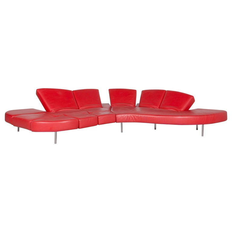 Edra Flap Designer Leather Sofa Red Corner Sofa Real Leather Couch Function