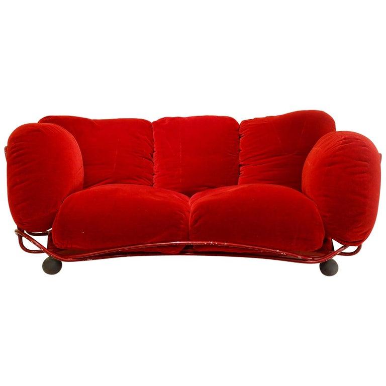 Edra Red Velvet Sofa At 1stdibs