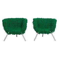 Edra Vermelha Fabric Armchair Set Green 2 Chair