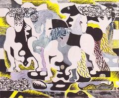 Birds in Flight   (Landscape, Modernism, Horse, block painting, stylized)