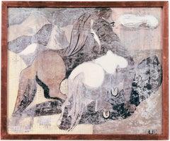'Consort', Modernist Equestrian Gouache, AIC, WPA artist