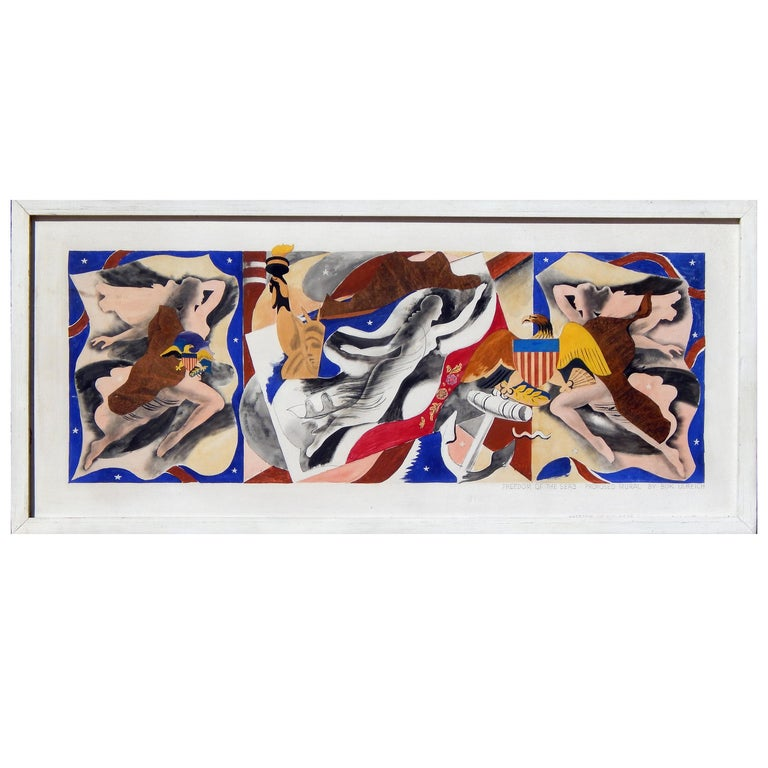 Eduard Buk Ulreich WPA Artist Proposed Mural, 1940s, Freedom of the Seas For Sale