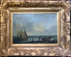 19th Century Marine Coastal Oil Painting After Eduard Hildebrandt