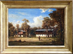 Dacha in Forest - Russia - 19th Century Oil, Figures in Landscape by Hildebrandt