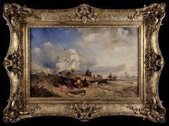 Küstenlandschaft mit Fischern, Hildebrandt 1842