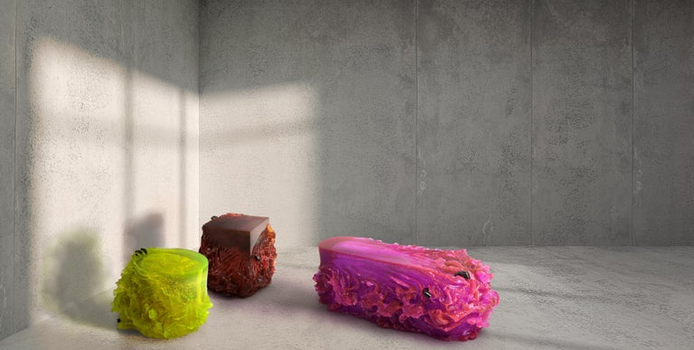 Materiality Vol. 1: Side Table & Stool by Eduard Locota. Acrylic Glass & Bronze For Sale 3