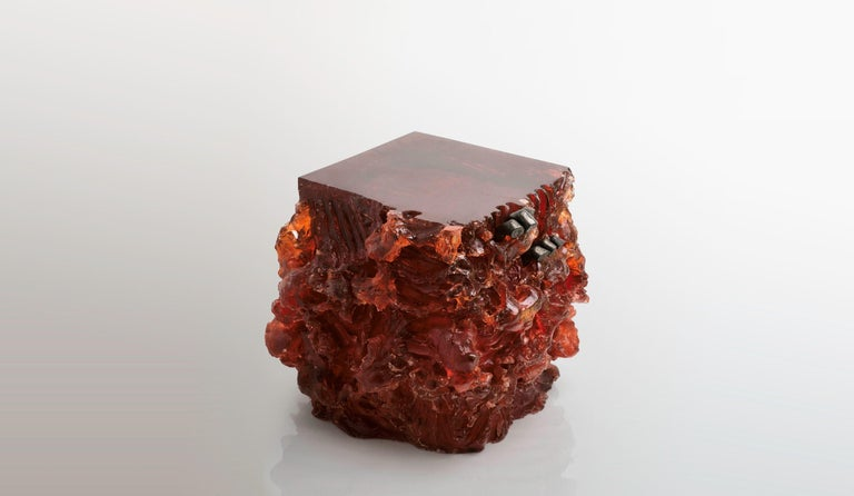 Cast Materiality Vol. 1: Side Table & Stool by Eduard Locota. Acrylic Glass & Bronze For Sale