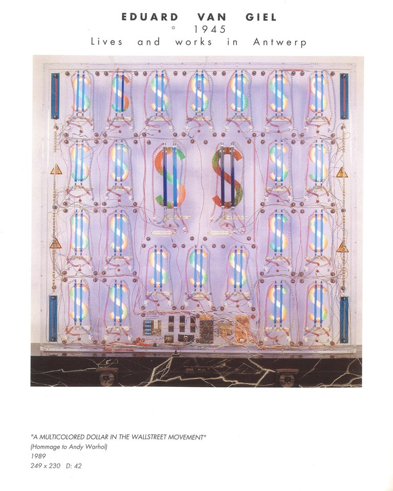 Late 20th Century Eduard Van Giel, One of a Kind, Dollars,  Homage to Andy Warhol For Sale