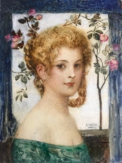 VEITH E. Young girl with rose tree. Oil on cardboard. Signed and situated 'Wien'