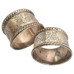 Eduardian Period Solid Silver Pair of Napkin Rings