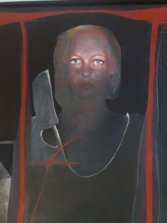 FEMALE FIGURE.. Original surrealist acrylic canvas painting