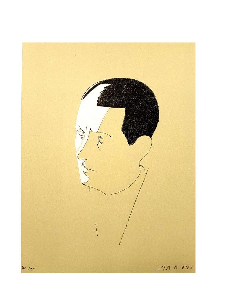 Eduardo Arroyo - Malraux - Original Handsigned Lithograph - Orange Landscape Print by Eduardo Arroyo