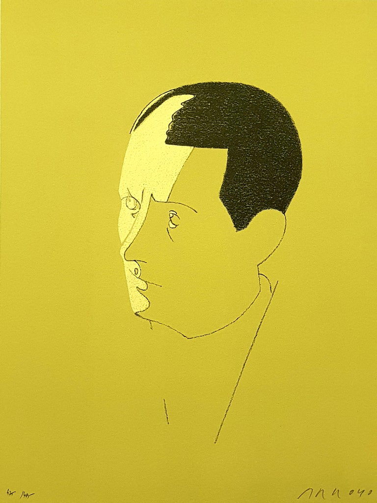 Eduardo Arroyo - Malraux - Original Lithograph 1984 Conditions: excellent Edition: 495 Dimensions: 37.3 x 29 cm  Handsigned and numbered Editions:  Trinckvel  Eduardo Arroyo is born in 1937 in Madrid where he studies at the French high school, at