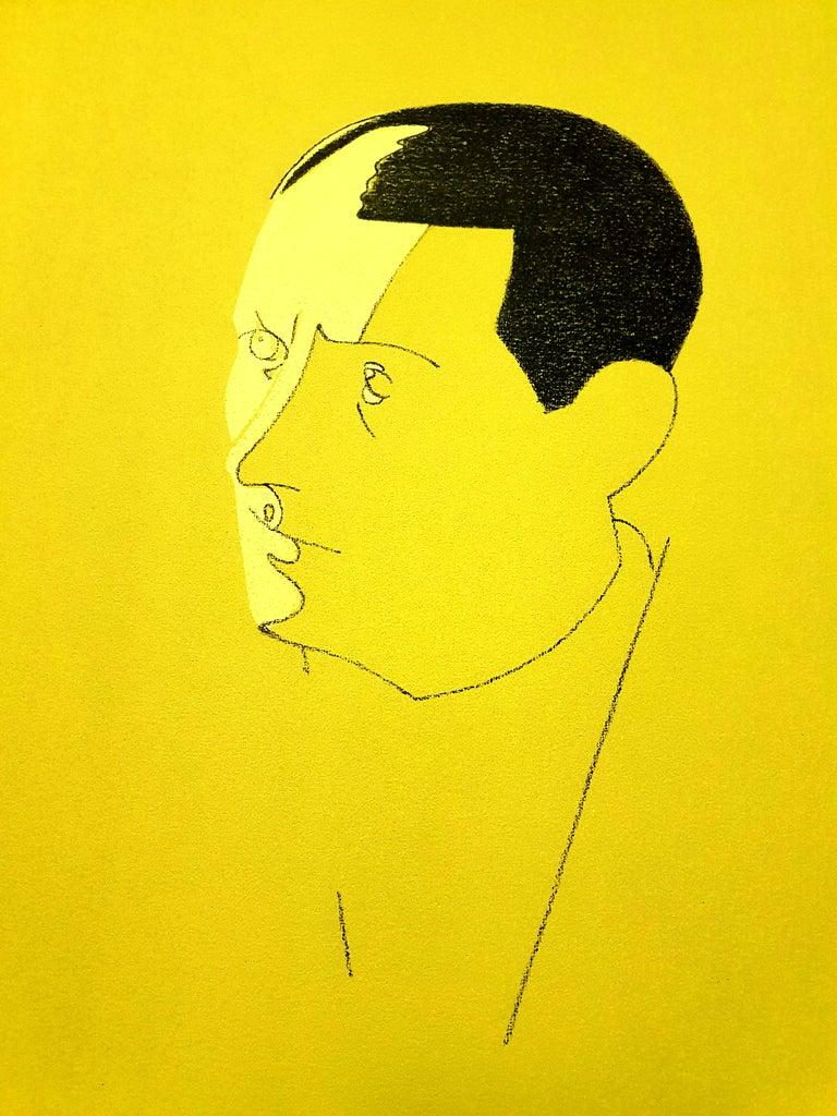 Eduardo Arroyo - Malraux - Original Handsigned Lithograph For Sale 1