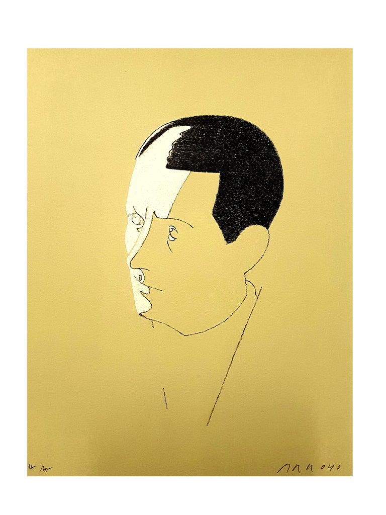 Eduardo Arroyo - Malraux - Original Handsigned Lithograph - Print by Eduardo Arroyo