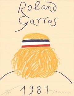 "Eduardo Arroyo-Roland Garros French Open-29.5"" x 22.5""-Offset Lithograph-1981"