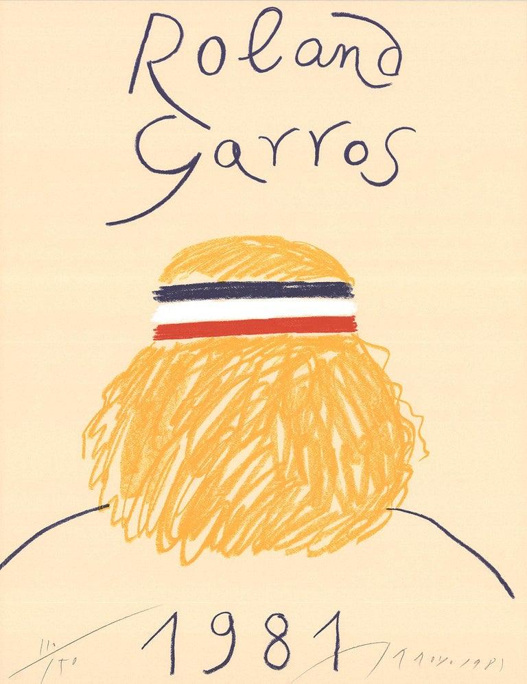 """Eduardo Arroyo-Roland Garros French Open-29.5"""" x 22.5""""-Offset Lithograph-1981 - Print by Eduardo Arroyo"""