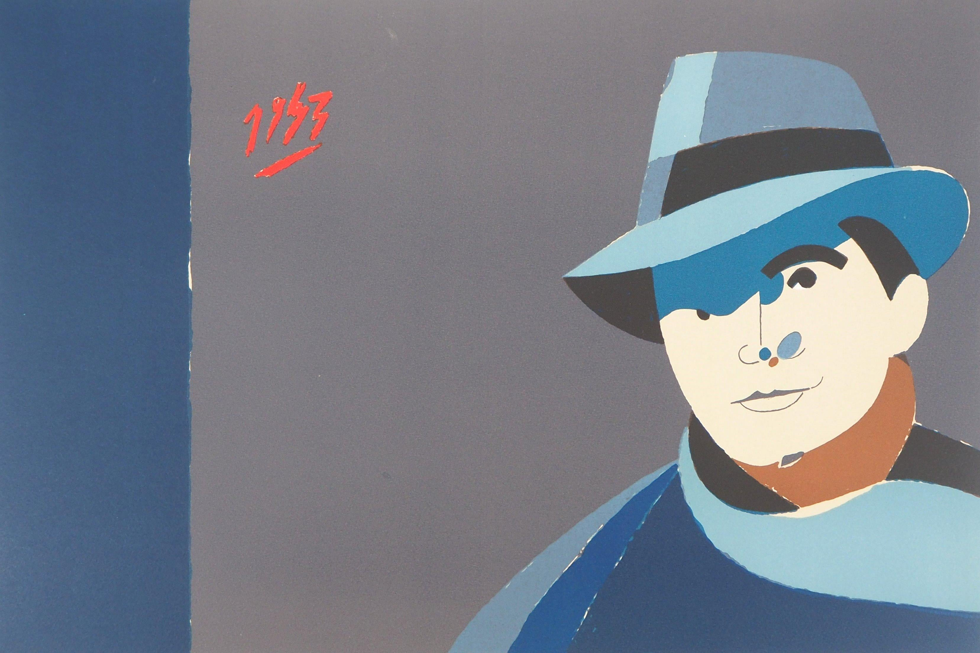 Jean Moulin, Man with Hat - Original Handsigned Lithograph