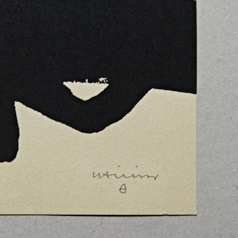 Mid-Century Modern Eduardo Chillida Abstract Black Lithography