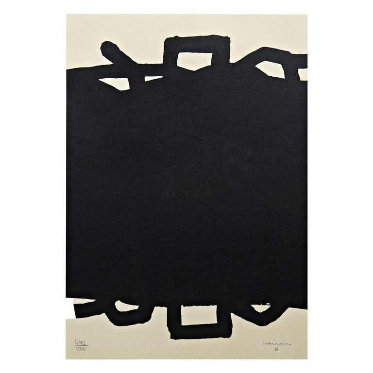 """Eduardo Chillida Abstract Black Lithography """"Untitled"""" on Paper, 1999 For Sale"""