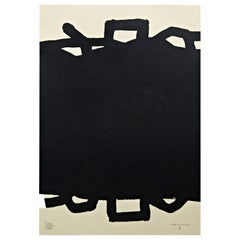 "Eduardo Chillida Abstract Black Lithography ""Untitled"" on Paper, 1999"