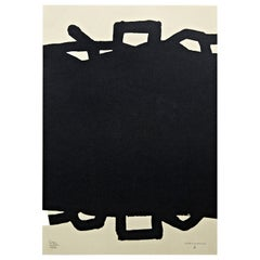 """Eduardo Chillida Abstract Black Lithography """"Untitled"""" on Paper, 1999"""
