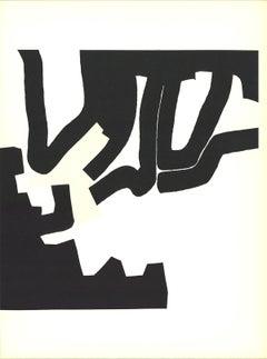 1970 Eduardo Chillida 'Black Marks Meeting' Modernism Black & White Lithograph