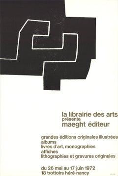 1972 Eduardo Chillida 'La Librairie des Arts' Abstract Black & White France Lith