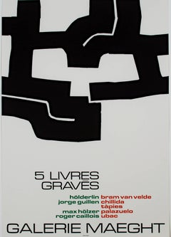 """Galerie Maeght-5 Livres Graves,"" Original Lithograph Poster by Eduardo Chillida"
