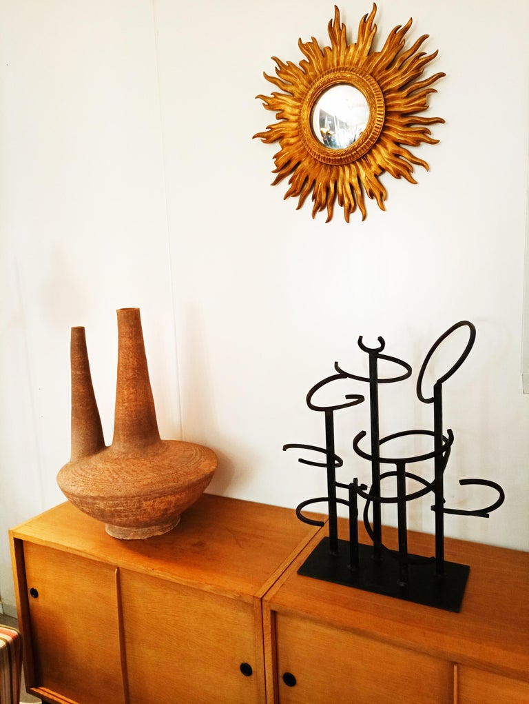 Beautiful and rare iron sculpture in the style of Eduardo Chillida, manufactured in Spain in 1960.  In perfect vintage condition.