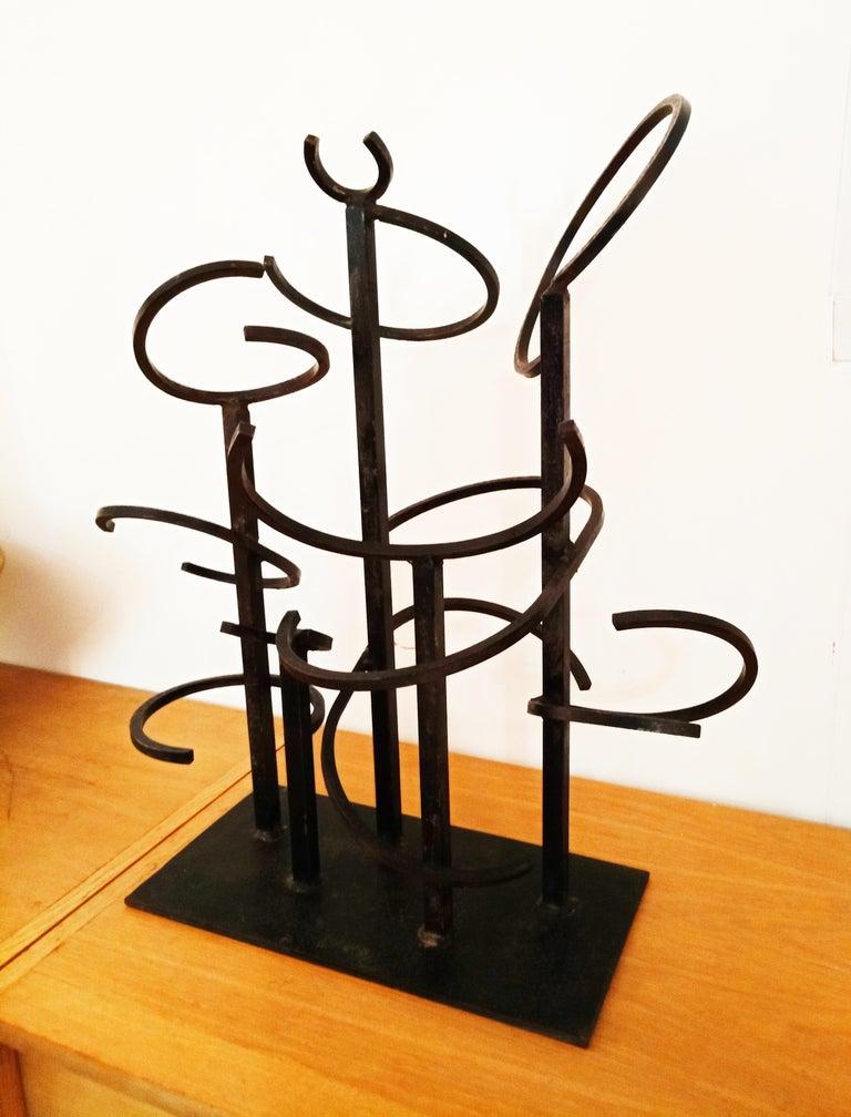 Brutalist Eduardo Chillida Style Iron Sculpture, 1960s For Sale