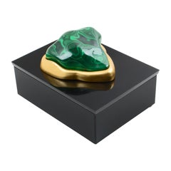 Eduardo Garza Black Lucite Malachite Box