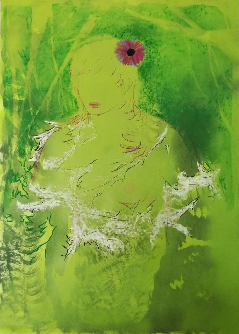 Eduardo Infante, Blonde She Hulk, 2017 - Painting by Eduardo Infante