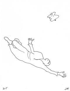 Performance pour un astronaute, une paire de ciseaux et deux feuilles de papier