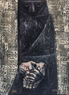 Untitled - Mysterious Figure in Black Pancho and Expressive Hands